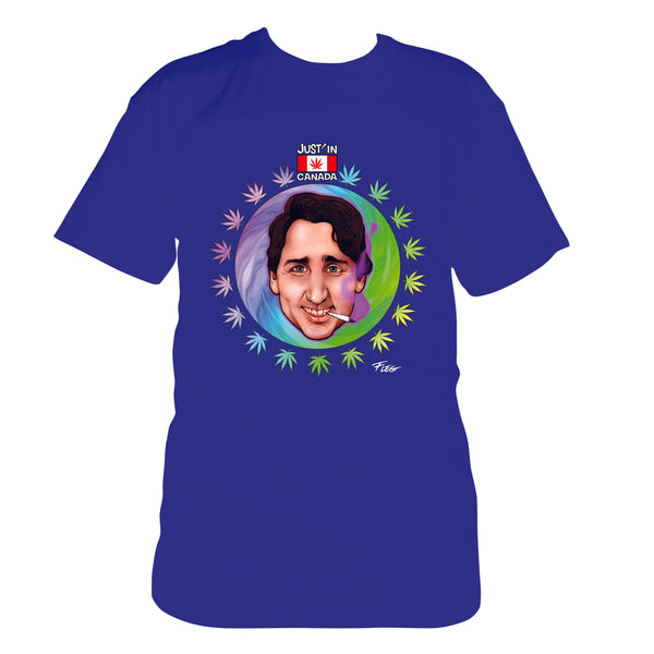Justin Trudeau psychedelic blue T‑shirt