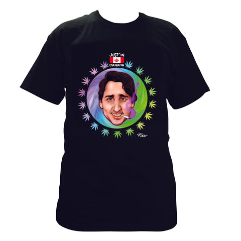 Justin Trudeau psychedelic black T‑shirt