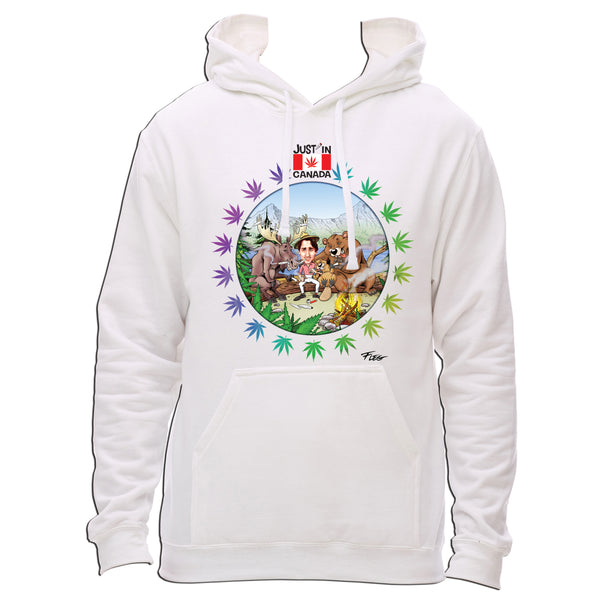 Canadian wildlife smoking pot with Justin Trudeau hoodie