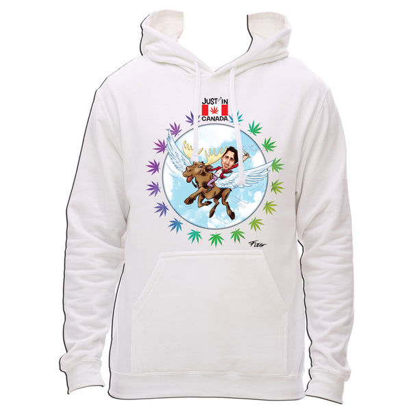 Justin Trudeau flying high on a moose hoodie