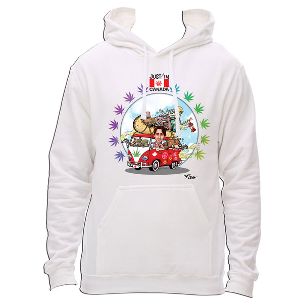 On the road to legalization with Justin Trudeau hoodie