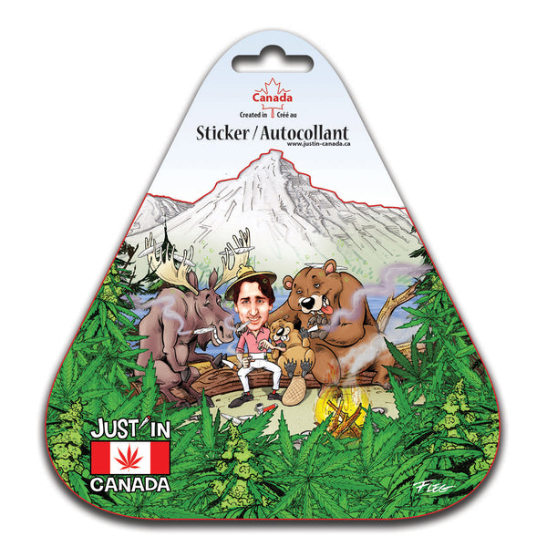 justin trudeau smoking a joint with friends in the forest sticker