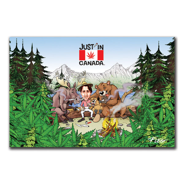 Just'in Canada postcard of PM Justin Trudeau smoking a joint with friends around a campfire