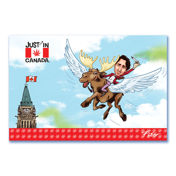 Just'in Canada postcard JT flying on a moose