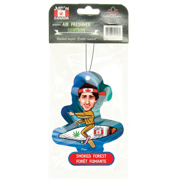 Smoked forest car freshener – Justin Trudeau on a joint paddling
