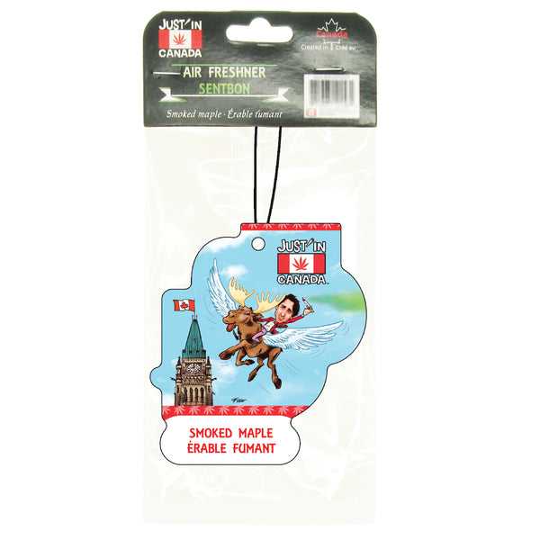 Smoked maple car freshener – Justin Trudeau on moose smoking a joint