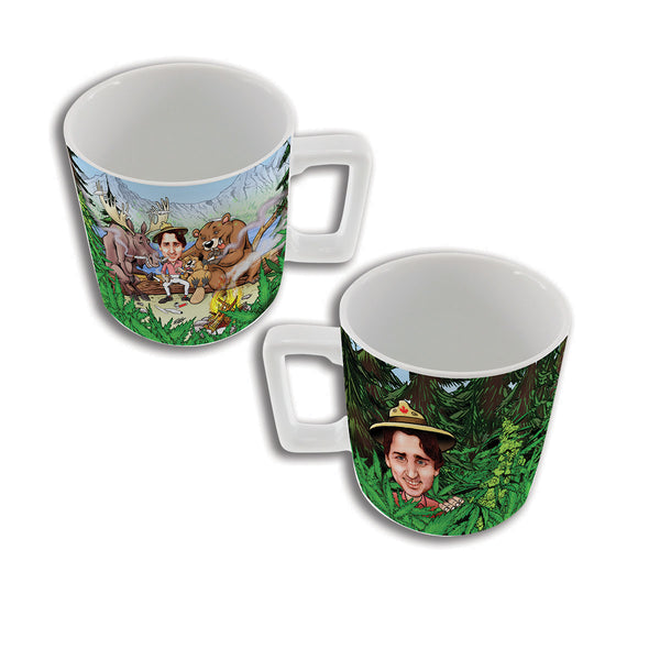 justin trudeau smoking a joint with friends in the forest mug