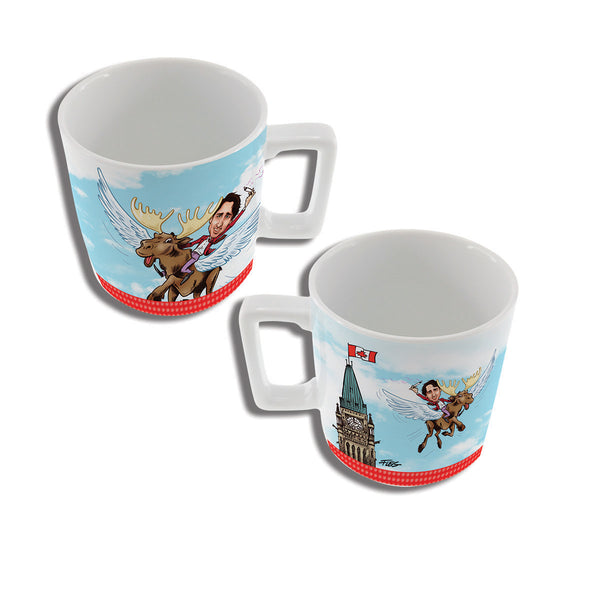 Justin Trudeau flying on a moose mug