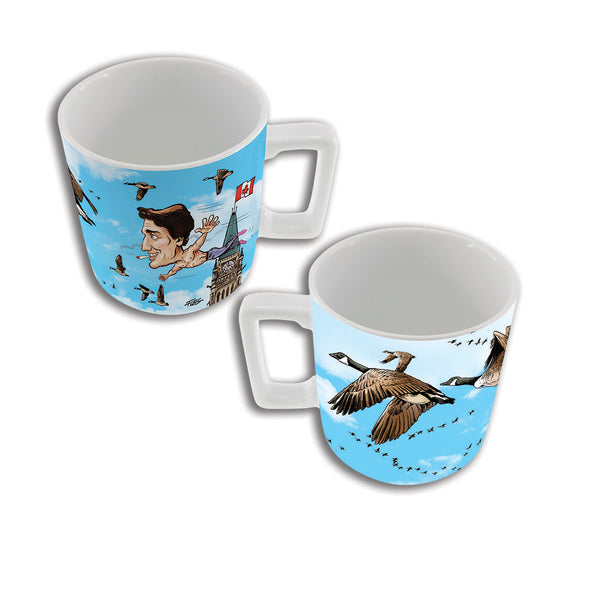 Justin Trudeau flying high with geese mug