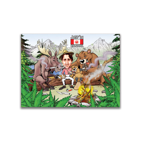 Justin Trudeau smoking a joint with friends in the forest magnet