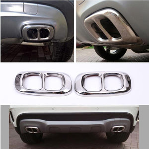 Stainless Steel Chrome OR Glossy Black Exhaust Output Cover StickerFor Mercedes Benz GLA Class X156