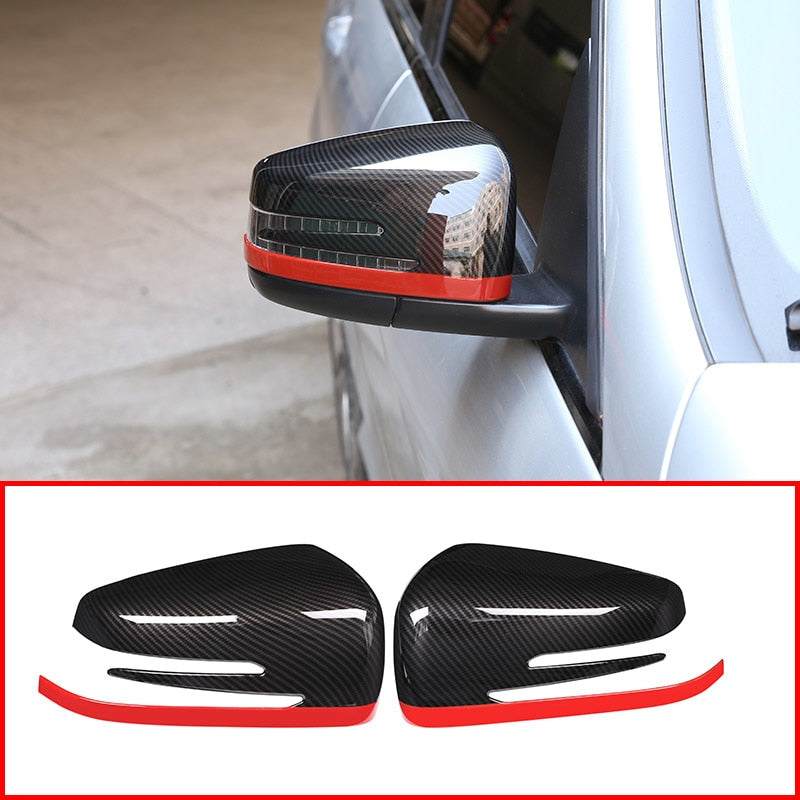 Carbon Fiber Red Style  Side Rearview Mirror Cover For Mercedes Benz A CLA GLA GLK Class W176 W117 X156 X204 ABS,  - Any Car Accessories