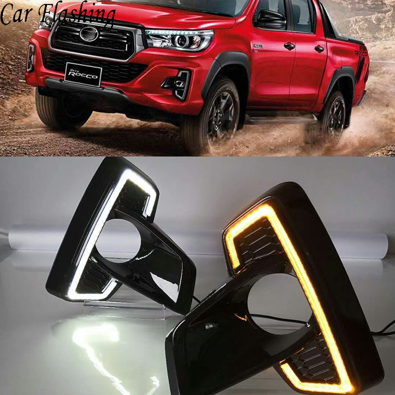 Daytime Running DRL Fog Lights For Toyota Hilux Revo Rocco 2018 - Any Car Accessories