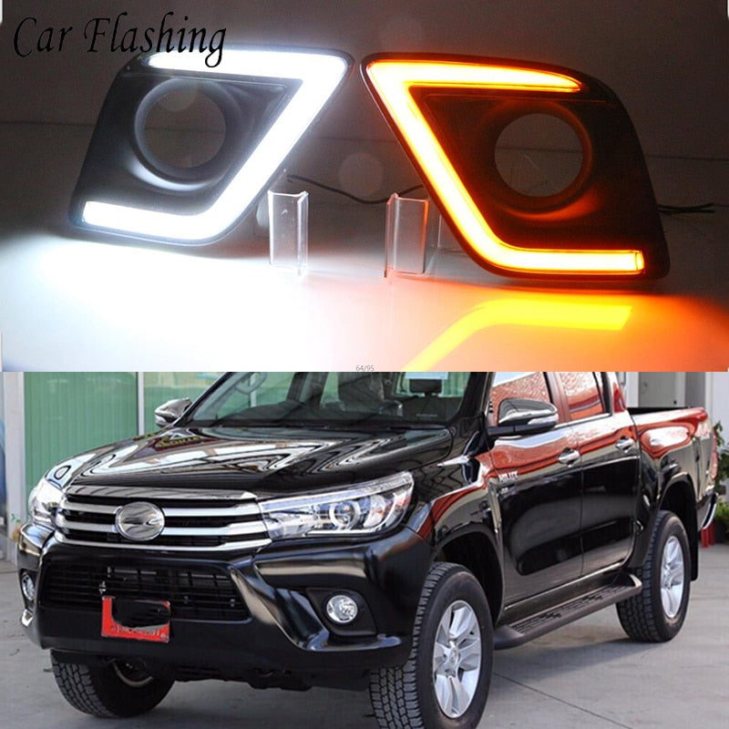 Daytime Running DRL Fog Lights For Toyota Hilux Revo Vigo 2015 2016 - Any Car Accessories