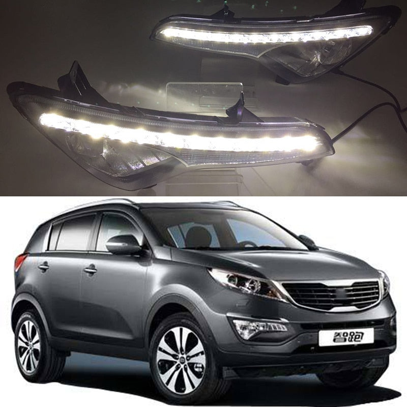 Daytime Running LED With Turn Signal Fog Lights For Kia Sportage 2010 2011 2012 2013 2014