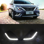 Daytime Running LED Fog Lights For Nissan Sunny Versa Almera Latio 2014 2015 2016 - Any Car Accessories