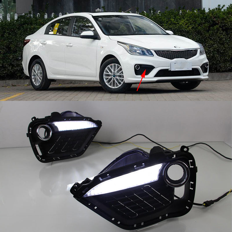 Daytime Running LED Fog Lights For KIA RIO K2 2016 2017