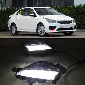 Daytime Running LED With Turn Signal Fog Lights For KIA Rio K2 2016 2017