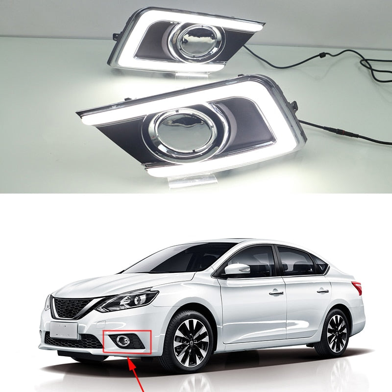 Daytime Running LED Fog Lights For Nissan Sentra 2016 2017 - Any Car Accessories