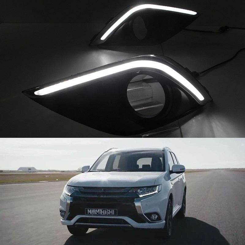 Daytime Running LED Fog Lights For Mitsubishi Outlander 2016 2017 - Any Car Accessories