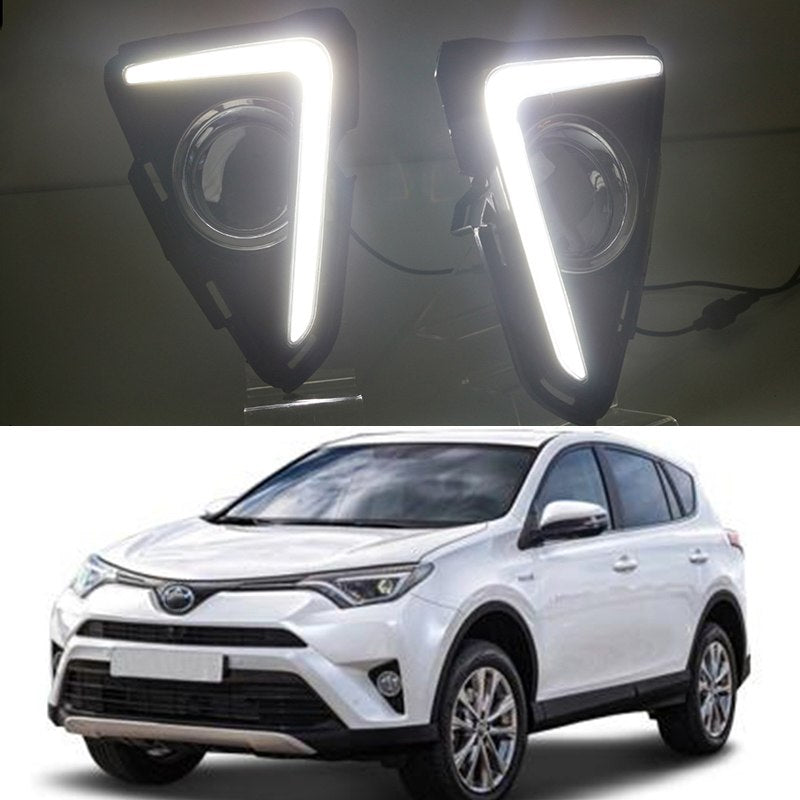 Daytime Running DRL Fog Lights For Toyota RAV4 RAV 4 2016 2017 - Any Car Accessories