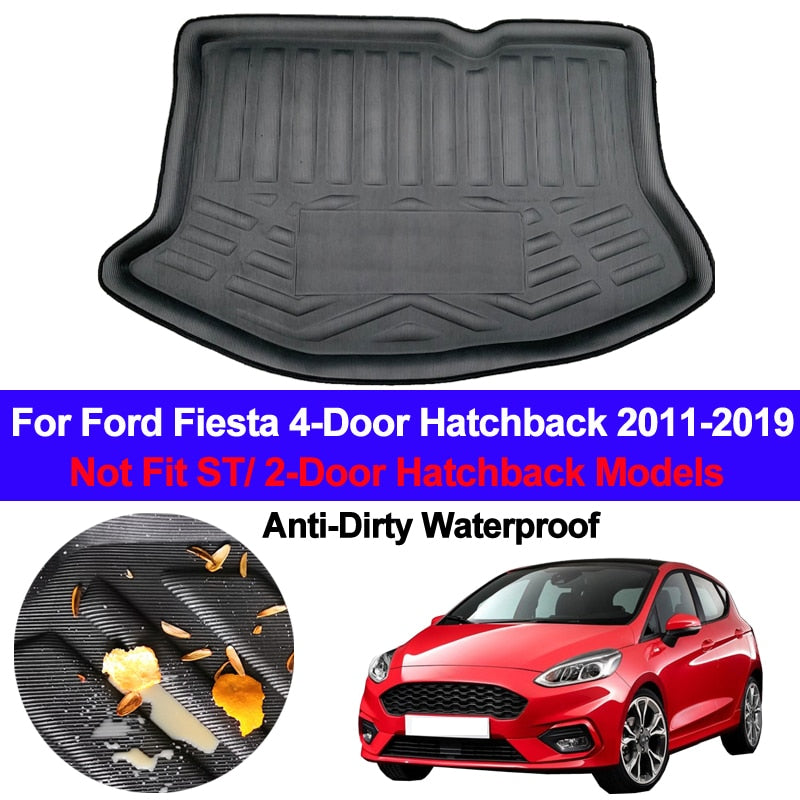 Trunk Mat Carpet Cover For Ford Fiesta 4-Door Hatchback 2011 - 2019,  - Any Car Accessories