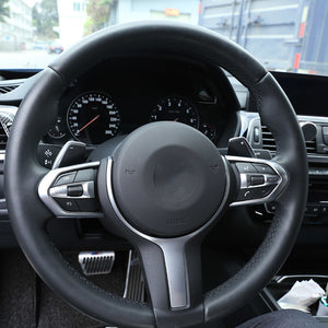 Carbon Fiber Chrome Steering Wheel Decoration Frame For BMW F20 F22 F21 F30 F32 F33 F36 F06 F12 F13 X5 F15 X6 F16 M-Sport,  - Any Car Accessories