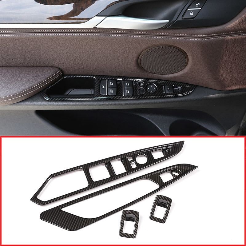 Carbon Fiber Car Door Window Button Panel Frame Trim For BMW X5 X6 F15 F16 2014-2018,  - Any Car Accessories
