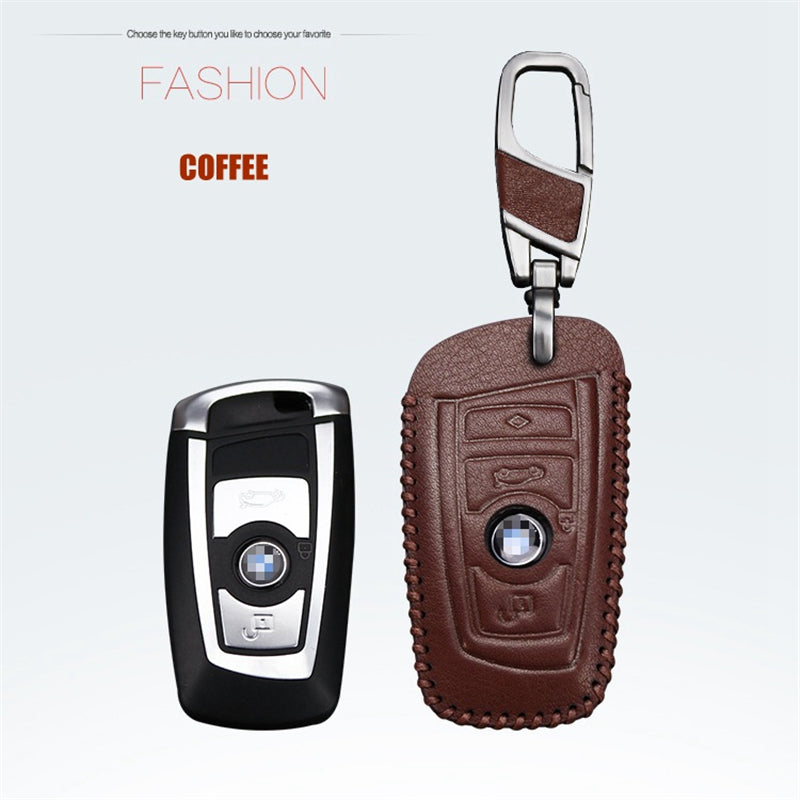 Leather Key Remote Case Cover For BMW 1 5 7 series X3 X4,  - Any Car Accessories