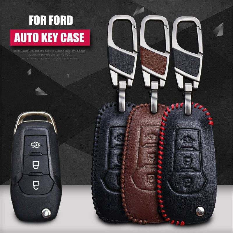Leather Key Remote Case Cover For Ford Mondeo / Escort,  - Any Car Accessories