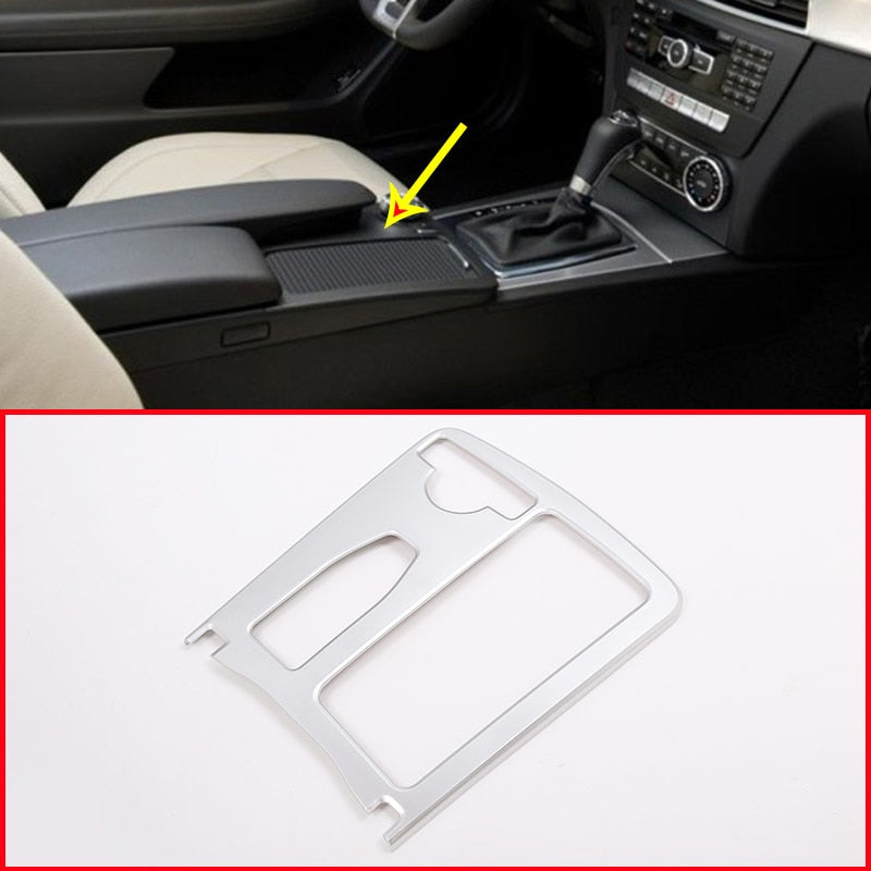 Matte Silver Central Console Cup Holder Frame For Mercedes Benz C Class W204 2008-2013