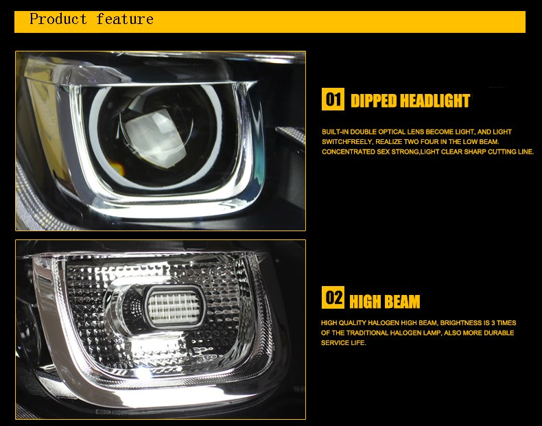 LED DRL Bi-xenon Headlights For Volkswagen VW Lamando 2015 - Any Car Accessories