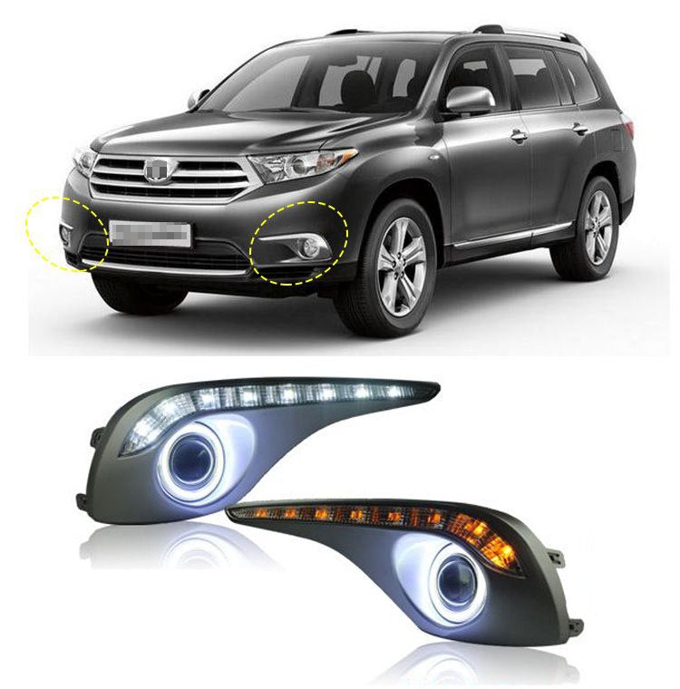 Daytime Running Angel Eye Fog Lights For Toyota Highlander 2012-2013 - Any Car Accessories