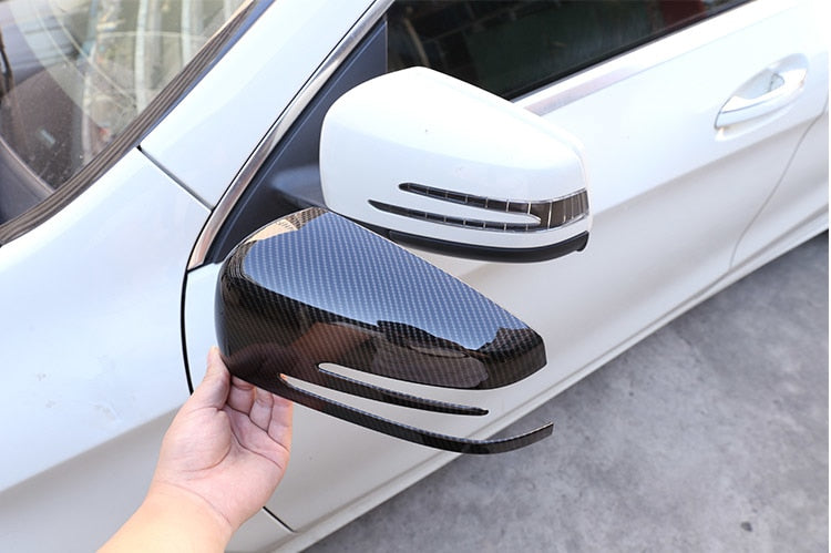 Carbon Fiber OR Chrome Side Rearview Mirror Cover For Mercedes Benz A CLA GLA GLK Class W176  W117 X156 X204,  - Any Car Accessories