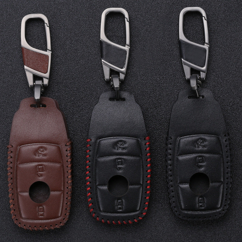 Leather Key Remote Cover For Mercedes Benz 2017 E Class W213,  - Any Car Accessories