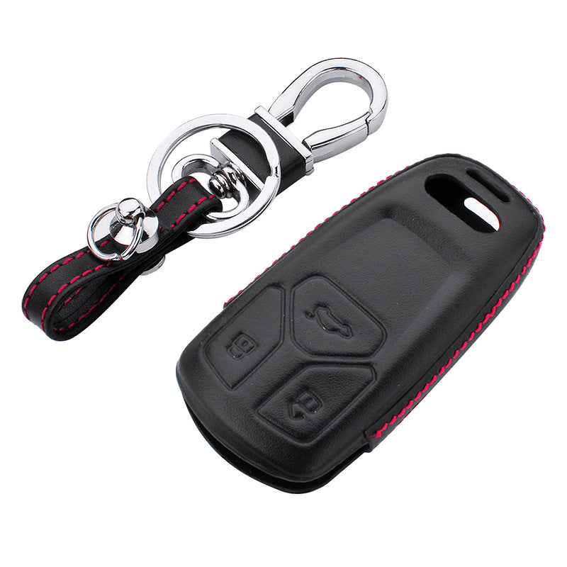 Leather Key Remote Cover For Audi 2016 A4L Q7 TT TTS,  - Any Car Accessories