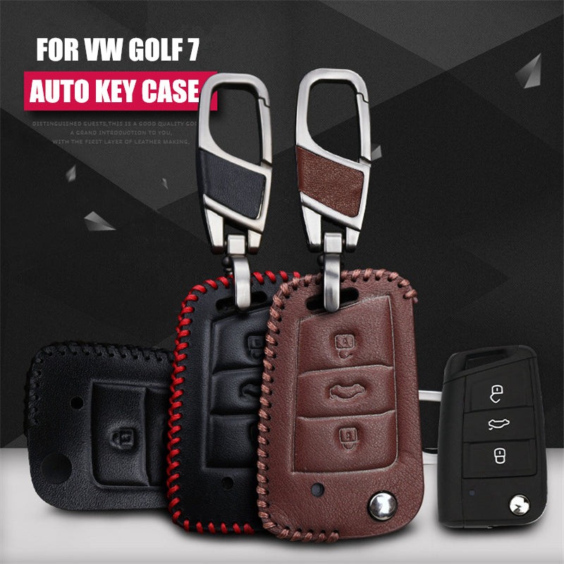 Leather Key Remote Case Cover For Volkswagen Golf 7 Folding Key,  - Any Car Accessories