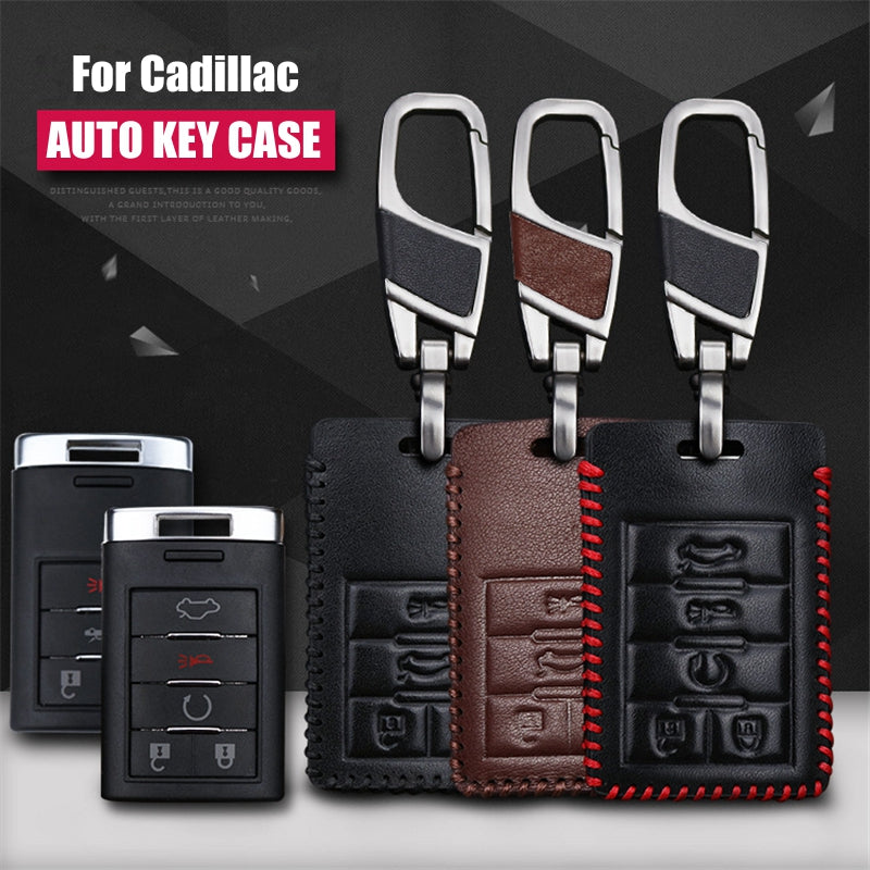 Leather Key Remote Cover For Cadillac SRX XTS SLS CTS ATS,  - Any Car Accessories