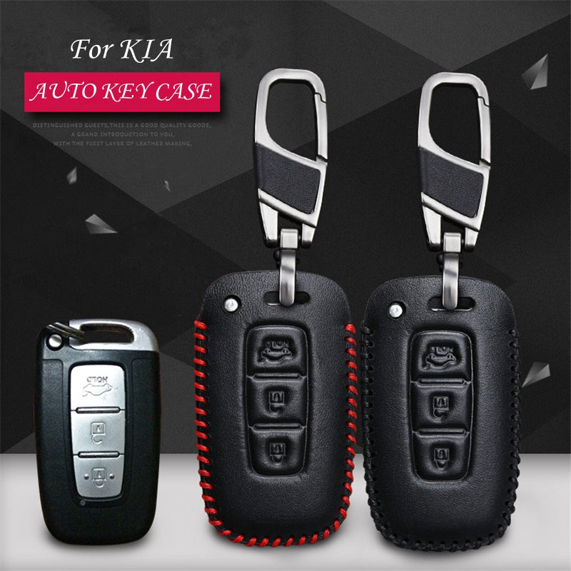 Luxury Leather Key Remote Case Cover For KIA,  - Any Car Accessories