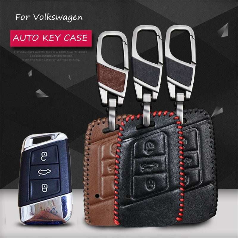 Leather Key Remote Cover For Volkswagen Vw Polo 2016 Golf,  - Any Car Accessories