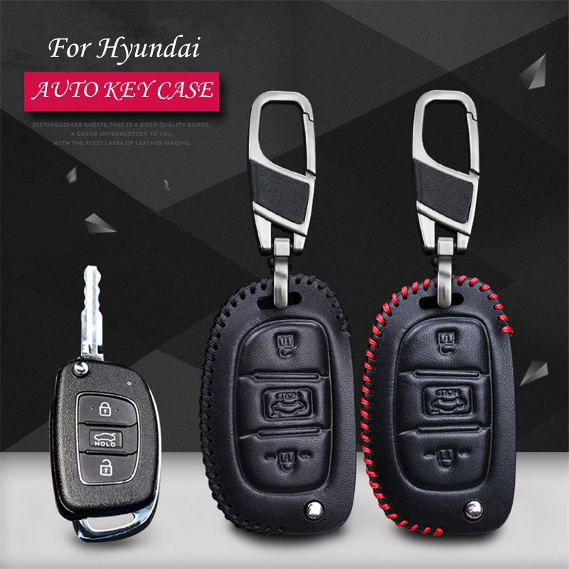 Leather Key Remote Case Cover For Hyundai 3 buttons,  - Any Car Accessories