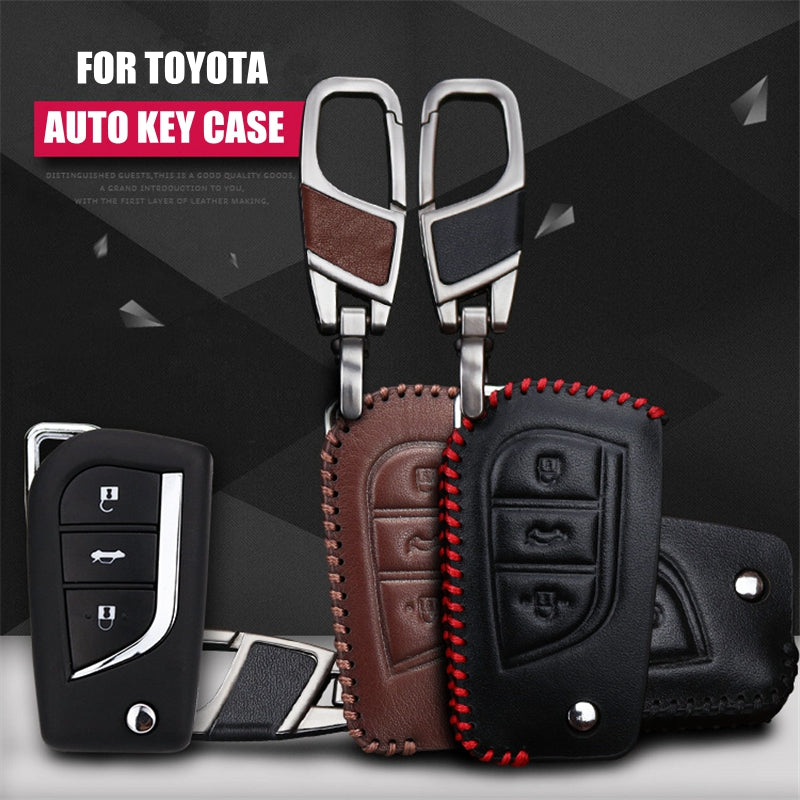 Leather Key Remote Cover For Toyota 14 Corolla / 13 RAV4,  - Any Car Accessories