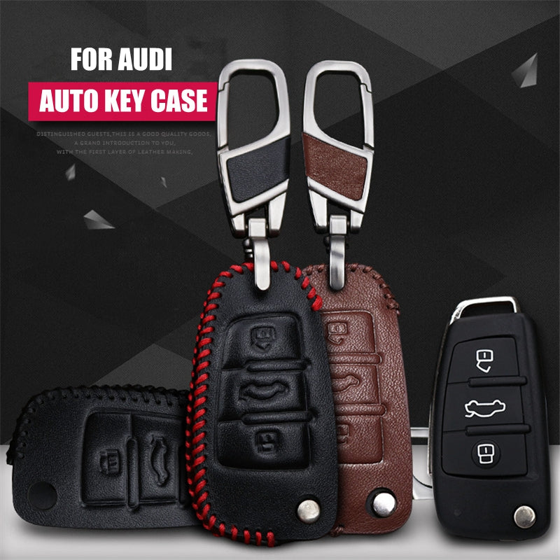 Leather Key Remote Case Cover For Audi Q3 A3,  - Any Car Accessories