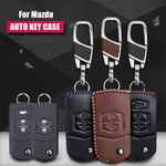 Leather Key Remote Case Cover For Mazda,  - Any Car Accessories