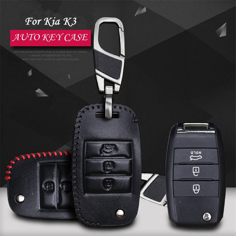 Leather Key Remote Case Cover For KIA K3,  - Any Car Accessories
