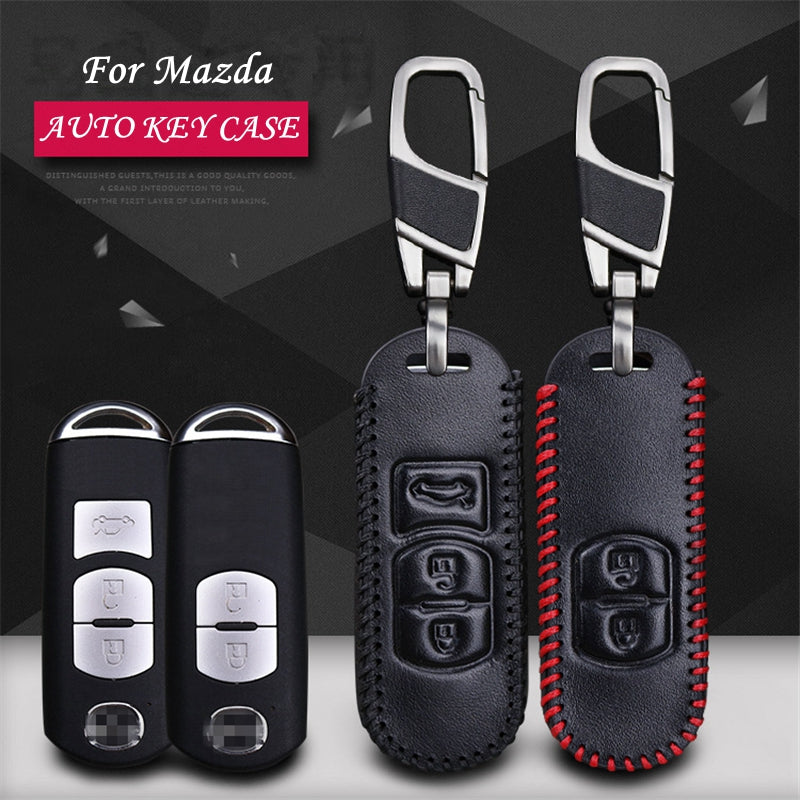 Leather Key Remote Cover For  Mazda Axela / Atenza,  - Any Car Accessories