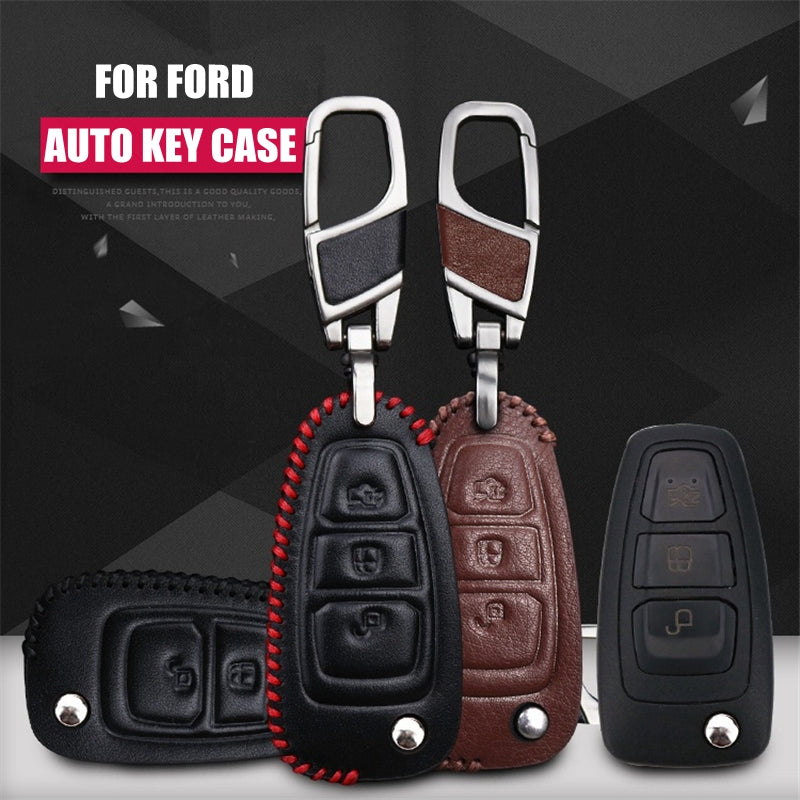 Leather Key Remote Case Cover For Ford folding 3 buttons key,  - Any Car Accessories