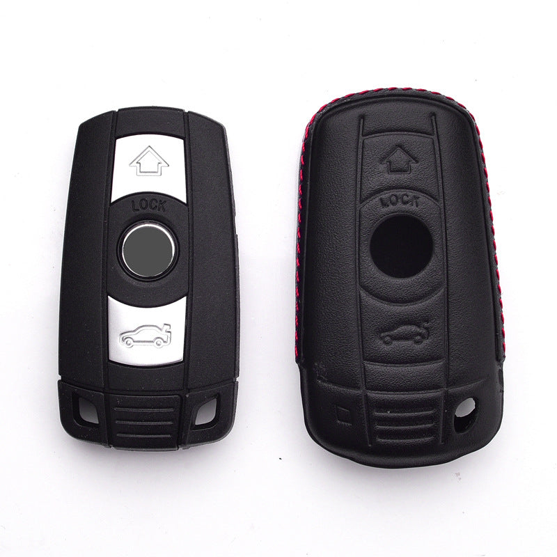 Leather Key Remote Cover For BMW 1 3 5 6 7 SERIES X1 X5 X6 E90 E92 E93,  - Any Car Accessories