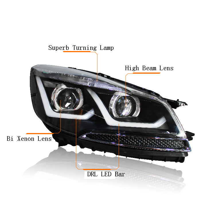 LED DRL Bi-xenon Headlights For Ford Escape Kuga 2013 2014 2015 - Any Car Accessories