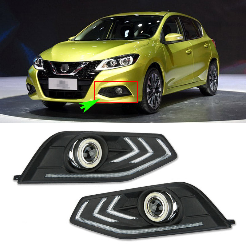 Daytime Running Angel Eyes Fog Lights For Nissan Tiida 2016 - Any Car Accessories
